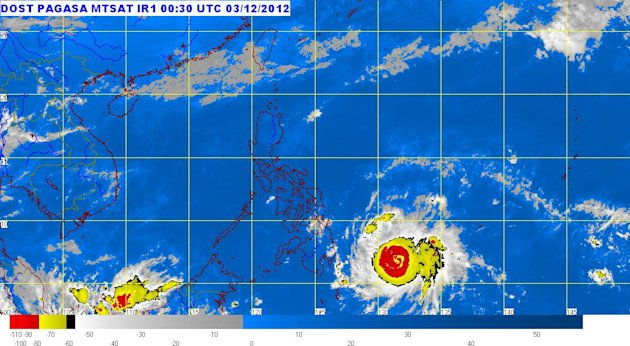Public storm warning signals have been hoisted over several areas in Visayas and Mindanao early Monday as feared super typhoon 'Pablo' (international codename 'Bopha') approaches land.
