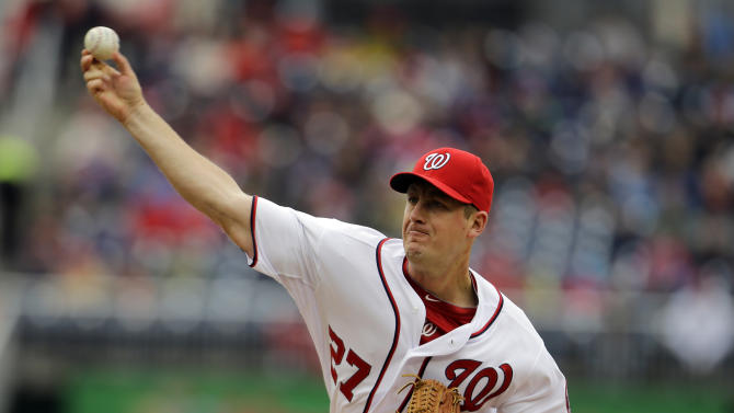 Washington Nationals starting pitcher Jordan Zimmermann throws during the first inning of a baseball game against the Miami Marlins at Nationals Park, Thursday, April 4, 2013, in Washington. (AP Photo/Alex Brandon)