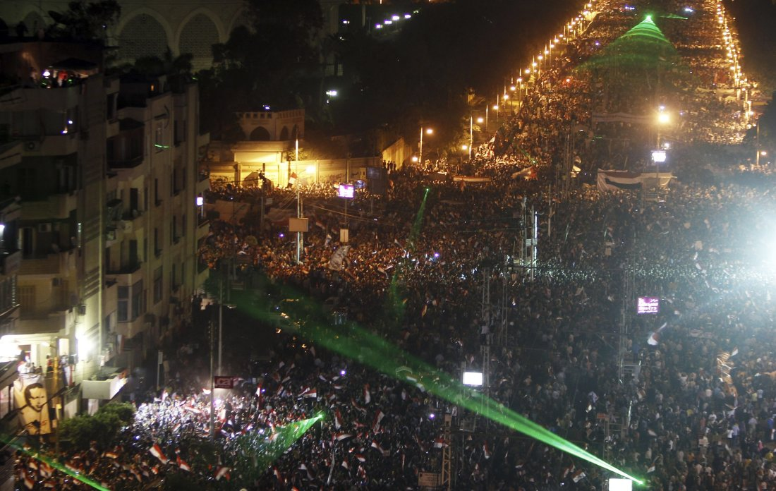 A general view of the protest against Egyptian President Mursi and the Muslim Brotherhood is seen in Cairo