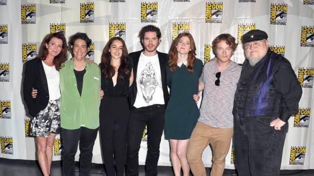 Michelle Fairley, producer Carolyn Strauss, actress Emilia Clarke, actor Richard Madden, actress Rose Leslie, actor Alfie Allen and writer George R.R. Martin participate in HBO's 'Game Of Thrones' Panel - Comic-Con International 2012 held at San Diego Convention Center on July 12, 2012 -- Getty Images