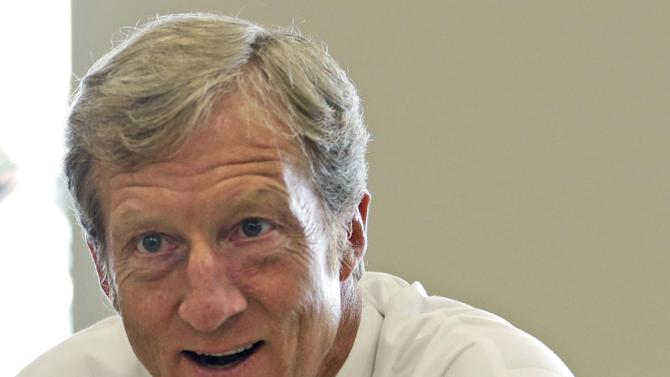 FILE - In this Sept. 25, 2013, file photo, businessman Tom Steyer talks during a meeting to announce the launch of a group called Virginians for Clean Government at Virginia Commonwealth University in Richmond, Va. Setting his sights on Republicans who reject climate change, an environmentalist billionaire is unveiling plans to spend $100 million this year in seven competitive Senate and gubernatorial races, as his super PAC works to counteract a flood of conservative spending by the Koch brothers. NextGen Climate Action said it plans to spend at least $50 million contributed by founder Steyer, a retired hedge fund manager and longtime Democratic donor, and another $50 million the group is seeking to raise from likeminded donors. (AP Photo/Steve Helber, File)