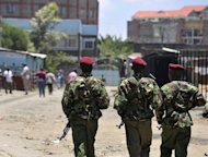 Kenya police patrol a neighbourhood in Nairobi on September 30, 2012. A suspected suicide bomber died when his explosives blew up before he reached his apparent target, wounding three passers by, police said Sunday.