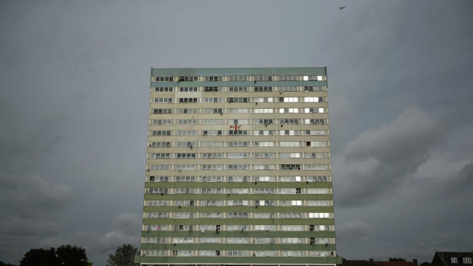 A general view shows the Fred Wigg Tower in Leytonstone, east London, Tuesday, July 10, 2012.  A judgement is due to be handed down Tuesday after residents of the London apartment tower went to court Monday in a bid to stop their rooftop from being used as a missile base during the upcoming Olympic Games, saying the deployment in a densely-populated area could make the building a terrorist target.  The British military plans to deploy surface-to-air missiles at six sites around London as part of a vast security operation for the July 27-Aug. 12, 2012 London Olympic Games, but residents of the 17-storey tower block say they were not consulted about the plans. (AP Photo/Matt Dunham)