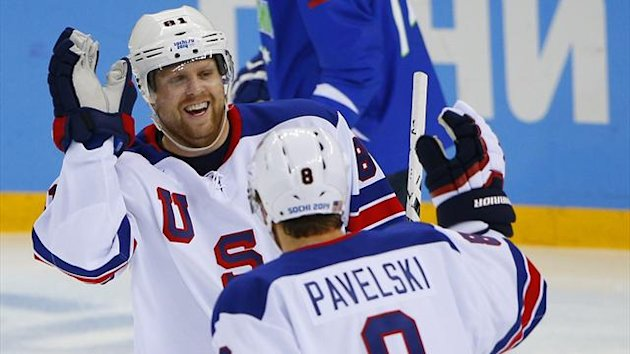 USA's Phil Kessel is congratulated after scoring against Slovenia (Reuters)