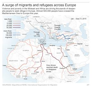 Map shows paths of peoples seeking asylum and other …