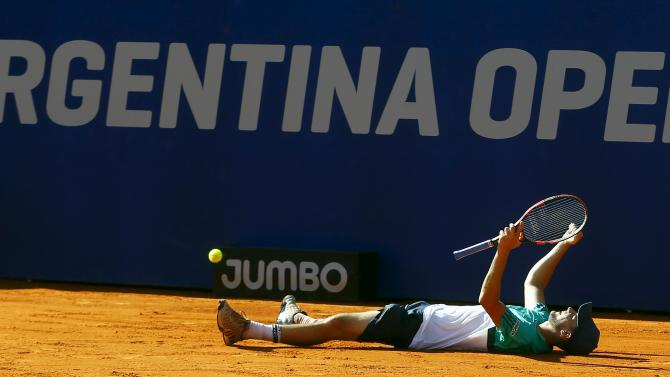 Austria's Thiem celebrates after defeating Spain's Almagro in men's singles final at the ATP Argentina Open tennis tournament in Buenos Aires
