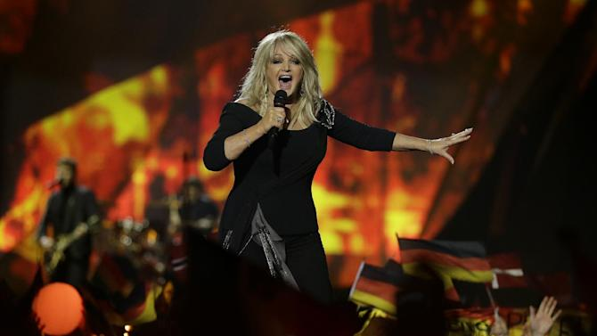 Bonnie Tyler of Britain performs her song Believe in Me during the final of the Eurovision Song Contest at the Malmo Arena in Malmo, Sweden, Saturday, May  18, 2013. The contest is run by European television broadcasters with the event being held in Sweden as they won the competition in 2012. (AP Photo/Alastair Grant)