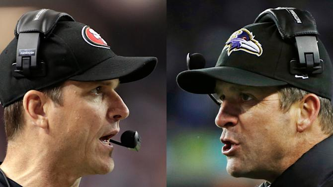 This combo image made of Sunday, Jan. 20, 2013, photos shows San Francisco 49ers head coach Jim Harbaugh, left, in Atlanta, and Baltimore Ravens head coach John Harbaugh in Foxborough, Mass., during their NFL football conference championship games. Get ready for the Brother Bowl_ it'll be Harbaugh vs. Harbaugh when Big Bro John's Baltimore Ravens (13-6) play Little Bro Jim's San Francisco 49ers (13-4-1) in the Super Bowl at New Orleans in two weeks. (AP Photos/Mark Humphrey, Matt Slocum)