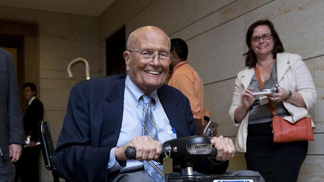 Rep. John Dingell, D-Mich., leaves  a closed all-member briefing on the NSA on Capitol Hill in Washington, Tuesday, June 11, 2013.    (AP Photo/Manuel Balce Ceneta)