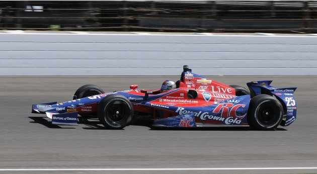 Marco Andretti drives his car during the final practice for the Indianapolis 500 in Indianapolis.