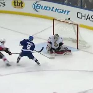 Robin Lehner shuts the pads on Johnson