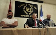 "Political leader of the far-right party 'Golden Dawn', Nikolaos Michaloliakos speaks during a press conference at an hotel in Athens. Greek neo-Nazi party Golden Dawn warned rivals and reformers Sunday that ""the time for fear has come"" after exit polls showed them securing their entry in parliament for the first time in nearly 40 years"