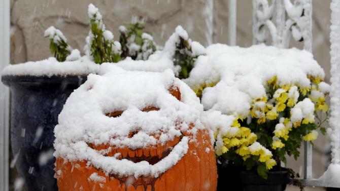 A jack-o-lantern is covered with snow during a rare October snowstorm that hit the Northern New Jersey region, Saturday, Oct. 29, 2011, in North Bergen, N.J.   A classic nor'easter is moving along the East Coast and is expected to dump anywhere from a dusting of snow to about 10 inches throughout the region starting Saturday, a decidedly unseasonal date for a type of storm more associated with midwinter.  (AP Photo/Julio Cortez)