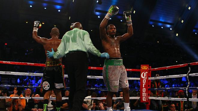 Both Chad Dawson (grey Trunks) And Bernard Hopkins (black Trunks) React At The End Of The 12th Round Getty Images