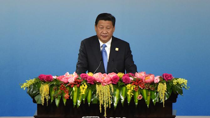 China's President Xi Jinping speaks on November 9, 2014, at the Asia-Pacific Economic Cooperation (APEC) Summit in Beijing