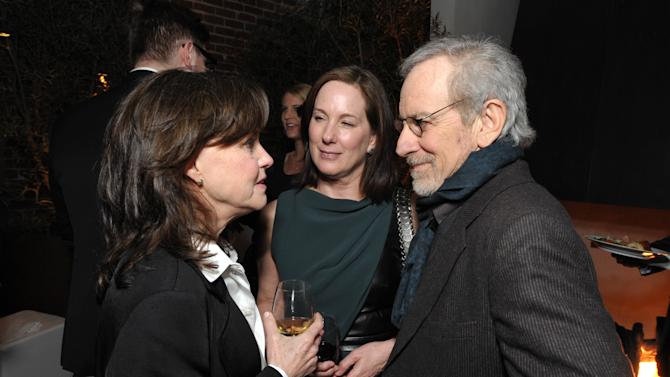 From left, Sally Field, Kathleen Kennedy and Steven Spielberg attend The Hollywood Reporter Nominees' Night at Spago on Monday, Feb. 4, 2013, in Beverly Hills, Calif. (Photo by John Shearer/Invision for The Hollywood Reporter/AP Images)