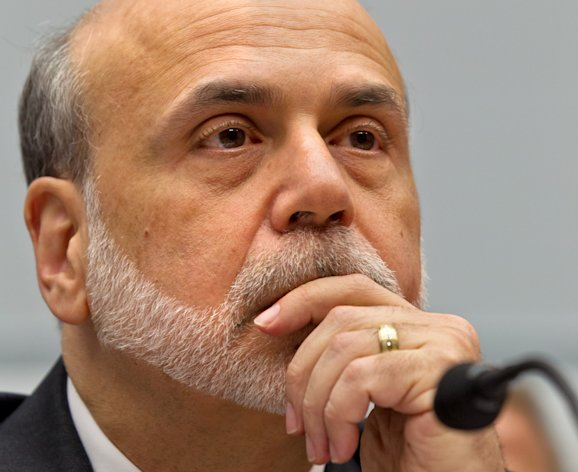 Federal Reserve Chairman Ben Bernanke appears before the House Financial Services Committee to deliver his twice-a-year report to Congress on the state of the economy, Wednesday, July 18, 2012. Bernanke sketched a bleak picture of the U.S. economy yesterday at the Senate Banking Committee warning it will darken further if Congress doesn't reach agreement soon to avert a budget crisis. (AP Photo/J. Scott Applewhite)