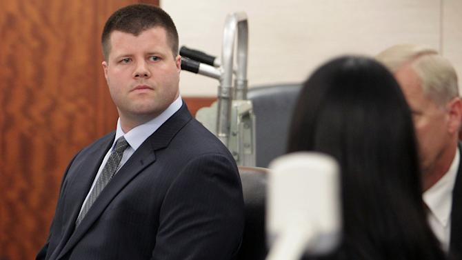 In this Monday, June 3, 2013 photo, former Houston police officer Drew Ryser, the fourth and final Houston police officer accused of wrongdoing in the 2010 videotaped beating of teenage burglar Chad Holley, looks on during the first day of his trial, in Houston. (AP Photo/Houston Chronicle, James Nielsen) MANDATORY CREDIT
