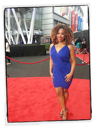 The Thread host Tanika Ray shines in a Cut25 dress, courtesy of Rent The Runway.