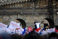 French Socialist Party candidate Francois Hollande gives a speech during a campaign meeting on April 15 in Paris