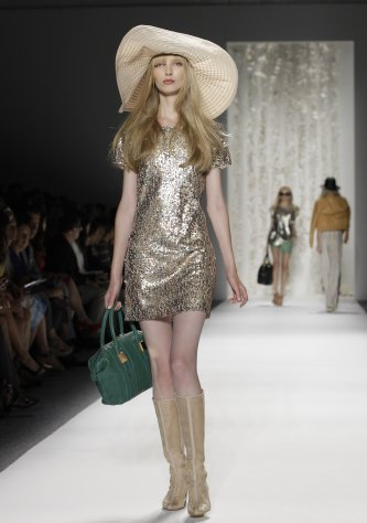 A model wears a design from the Rachel Zoe Spring 2013 collection at Fashion Week in New York, Wednesday, Sept. 12, 2012. (AP Photo/Kathy Willens)