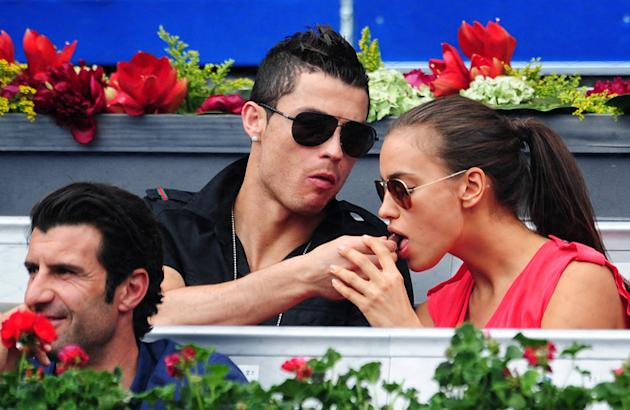 Real Madrid Player Cristiano Ronaldo (C) Feeds His Girlfriend Irina Shayk A Piece Of Chocolate As Portuguese Football Getty Images