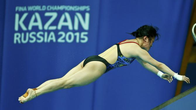 Ruolin of China performs a jump during the mixed team event final at the Aquatics World Championships in Kazan