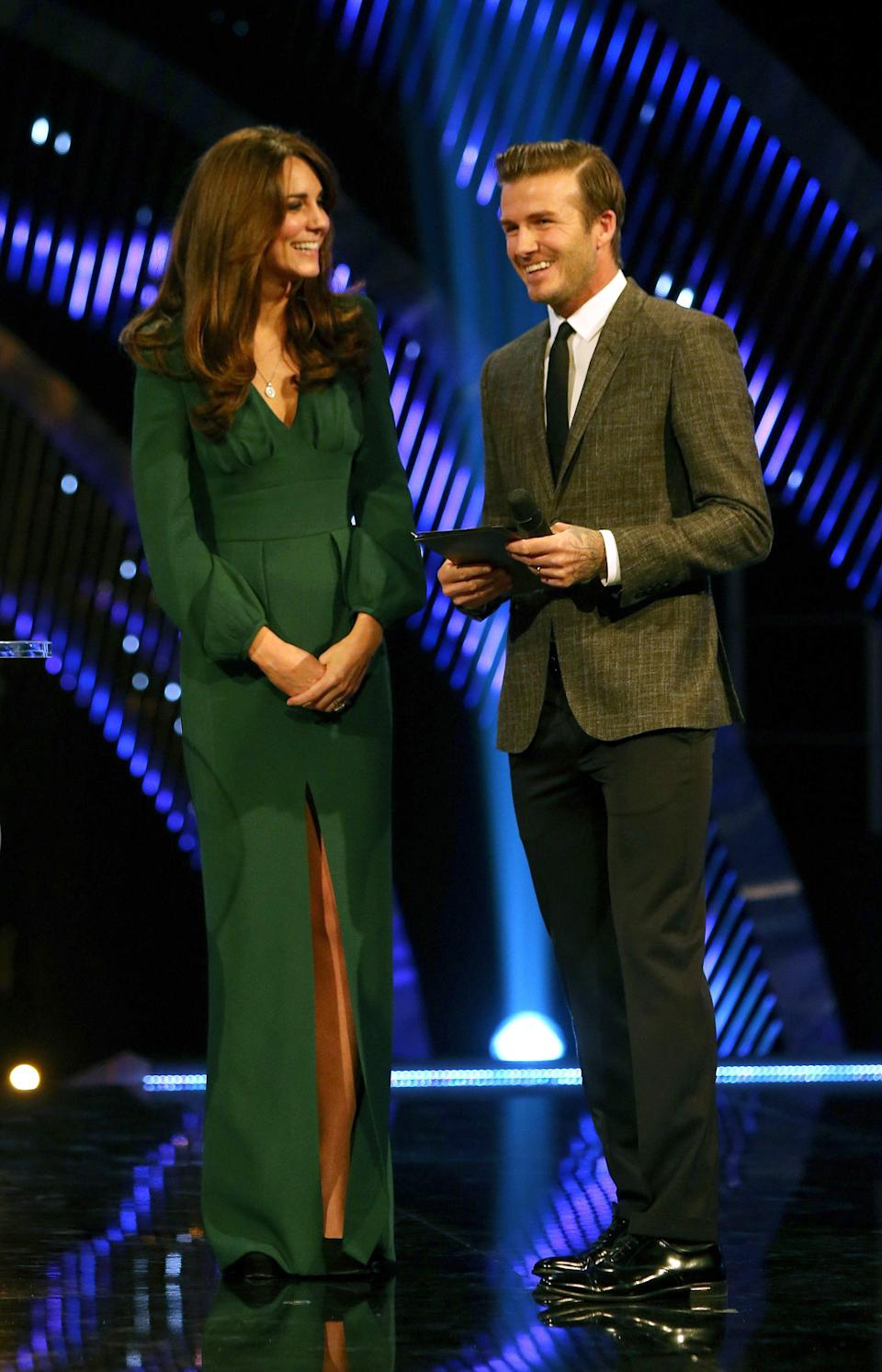 Kate, the Duchess of Cambridge smiles as she chats with soccer player David Beckham during the BBC Sports Personality of the Year Awards 2012 in London, Sunday Dec. 16, 2012. (AP Photo/David Davies, PA) UNITED KINGDOM OUT: NO SALES: NO ARCHIVE