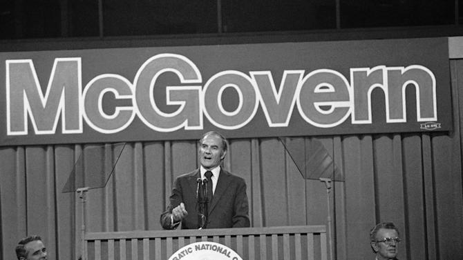 FILE - In this July 14, 1972 file photo, Sen. George S. McGovern makes his acceptance speech at the Democratic National Convention in Miami Beach. At left is his running mate, Sen. Thomas F. Eagleton of Missouri, and at right, convention chairman Lawrence F. O'Brien.  A family spokesman says, McGovern, the Democrat who lost to President Richard Nixon in 1972 in a historic landslide, has died at the age of 90. According to the spokesman,  McGovern died Sunday, Oct. 21, 2012 at a hospice in Sioux Falls, surrounded by family and friends. (AP Photo)