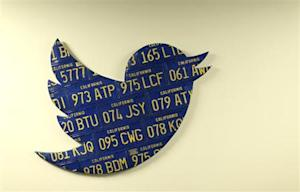 A Twitter logo made from Californian license plates is shown at the company's headquarters in San Francisco
