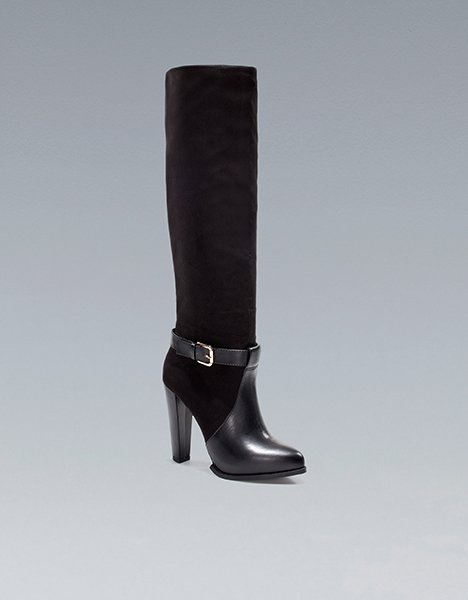 Zara's high heel boot with buckle, $89.90 at Zara