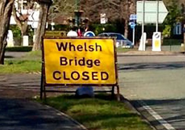 Sign of bad spelling: The road sign in Shrewsbury