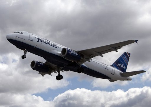 <p>File picture shows a JetBlue plane taking off from John F. Kennedy International Airport. The pilot of a JetBlue plane from New York to Las Vegas who triggered a mid-air emergency when he suffered a breakdown in which he screamed about terrorists and 9/11 was ruled not guilty by reason of insanity Tuesday, media reported</p>