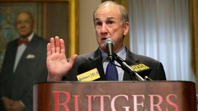Rutgers University President Robert Barchi at a news conference on April 5.