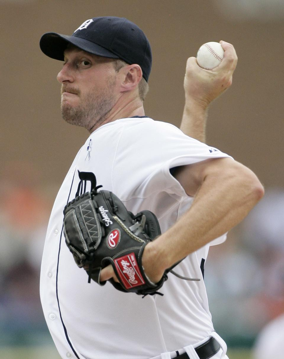 Detroit Tigers starter Max Scherzer pitches against the Colorado Rockies in the second inning of an interleague baseball game on Sunday, June 17, 2012, in Detroit. (AP Photo/Duane Burleson)