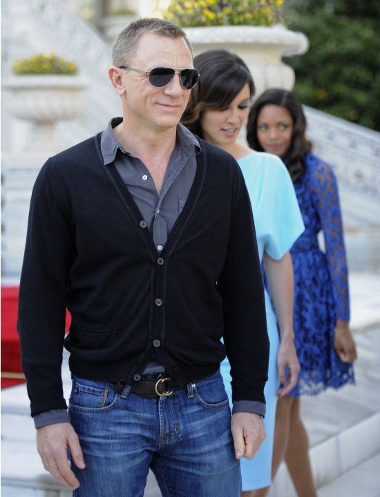 French actress Berenice Marlohe, center, British actor Daniel Craig and British actress Naomie Harris arrive  for the photocall of the 23rd film in the James Bond series, 'Skyfall', in Istanbul, Turke