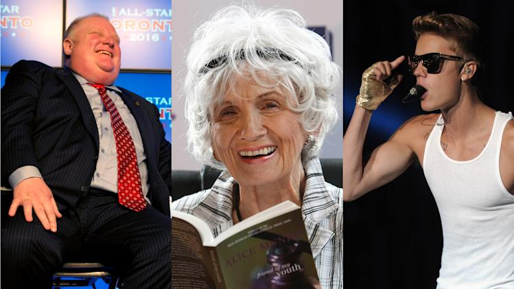 FILE - This combination of 2009 and 2013 photos shows Toronto Mayor Rob Ford, left, author Alice Munro, center, and singer Justin Bieber. Munro's Nobel Prize, awarded Thursday, Oct. 10, 2013 is a morale boost for a country that has been generating an unusual run of bad headlines. Earlier in the year, Mayor Ford was allegedly caught on video smoking crack cocaine, and there was an uproar over a maladroit reference by pop idol Bieber to Anne Frank. (AP Photo/The Canadian Press, Frank Gunn, Peter Morrison, Joseph Nair)