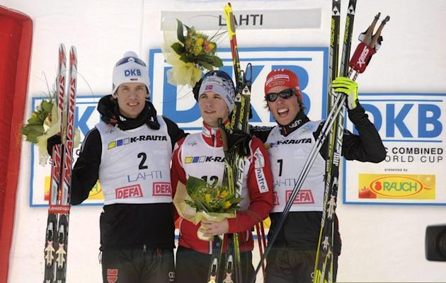 Second Placed Tino Edelmann Of Germany (L), Winner Jan Schmid Of Norway (C) And Thrid Placed Johannes Rydzek Of Germany AFP/Getty Images