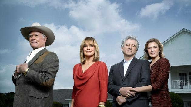 "Larry Hagman, Linda Gray, Patrick Duffy and Brenda Strong in TNT's ""Dallas"" -- TNT"