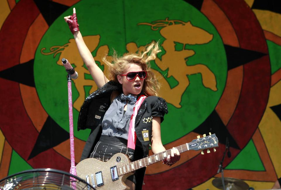 Paulina Rubio performs at the New Orleans Jazz and Heritage Festival in New Orleans, Saturday, May 5, 2012. (AP Photo/Gerald Herbert)