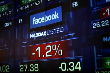Monitors show the value of the Facebook, Inc. stock during morning trading at the NASDAQ Marketsite in New York