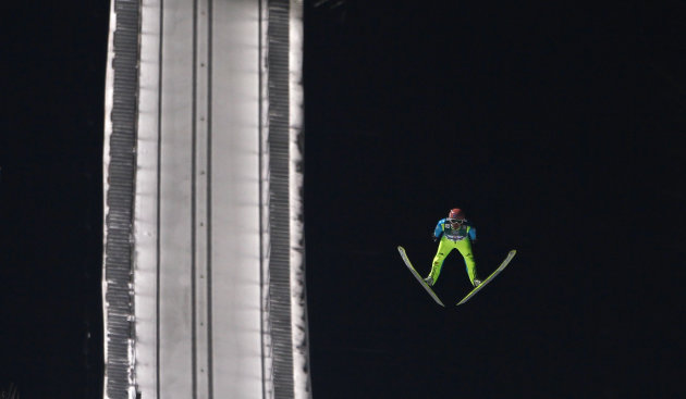 Team Germany's Freund soars through the air during the Team Ski Jumping World Cup in Oberstdorf