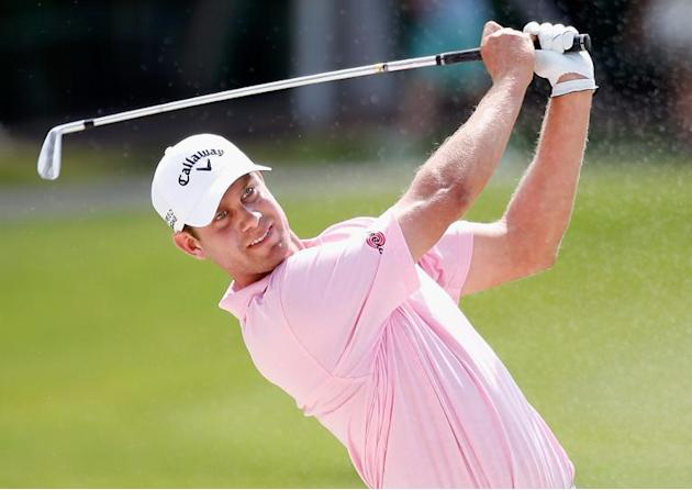 Harris English hits a shot during the first round of the World Golf Championships-Cadillac Championship, at Trump National Doral in Florida, on March 6, 2014