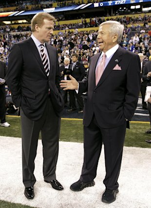 FILE - In this Feb. 5, 2012, file photo, NFL Commissioner Roger Goodell, left, talks with New England Patriots Chairman and CEO Robert Kraft before th...