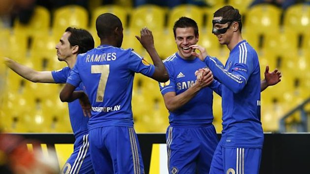 Chelsea's Fernando Torres (R) celebrates his goal with team mates during their Europa League quarter-final second leg soccer match against Rubin Kazan at the Luzhniki stadium in Moscow April 11, 2013. REUTERS