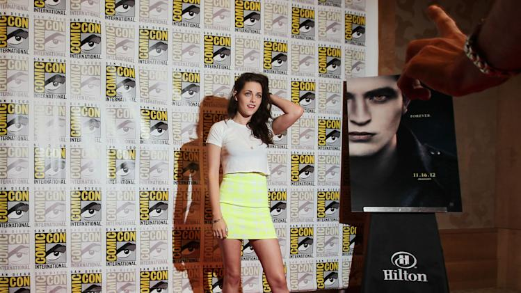 "Actress Kristen Stewart arrives at the ""The Twilight Saga: Breaking Dawn - Part 2"" press line during Comic-Con, Thursday, July 12, 2012, in San Diego. (Photo by Matt Sayles/Invision/AP)"