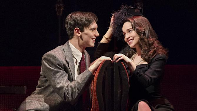 """This theater image released by The O+M Company shows Cory Michael Smith, left, and Emilia Clarke in a scene from """"Breakfast at Tiffany's,"""" performing at the Cort Theatre in New York. Producers of the latest stage adaptation of Truman Capote's classic 1958 story """"Breakfast at Tiffany's"""" said Monday they will close the show after Sunday's matinee. It will have played 17 preview and 38 regular performances. (AP Photo/The O+M Company, Nathan Johnson Photography)"""