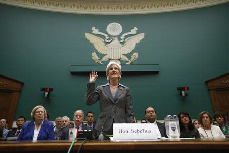 U.S. Secretary of Health and Human Services Sebelius is sworn in to testify before a House Energy and Commerce Committee hearing about issues and complications with the Affordable Care Act enrollment website, on Capitol Hill