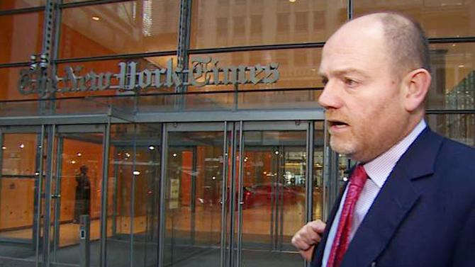 """In this image released by the UK Broadcasters Pool, Mark Thompson, newly named CEO of The New York Times Co., arrives at the paper's offices, Monday, Nov. 12, 2012 in New York. Thomson, the former BBC director general was hired in August and hailed as someone who could help the company generate new revenue at a time when print publications are suffering from the loss of readers and advertisers. But in recent months, Thompson has faced questions over a decision by the BBC's """"Newsnight"""" program to shelve an investigation into child sexual-abuse allegations against renowned British television host Jimmy Savile. (AP Photo/UK Broadcasters Pool)"""