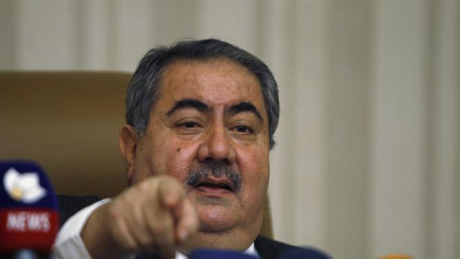 Iraqi Finance Minister Zebari speaks during a news conference in Baghdad